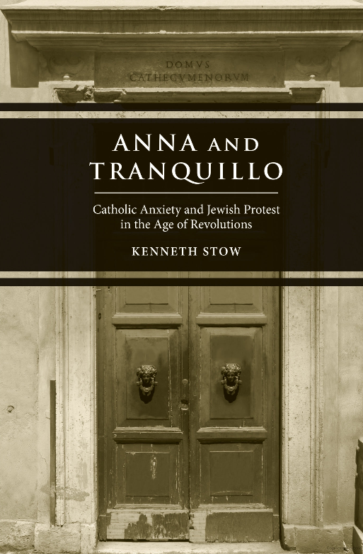 Book cover, white writing on a brow background Anna and Tranquillo in front of old doors