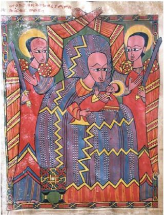 15th or 16th century colour drawing of virgin and child with two saints in background