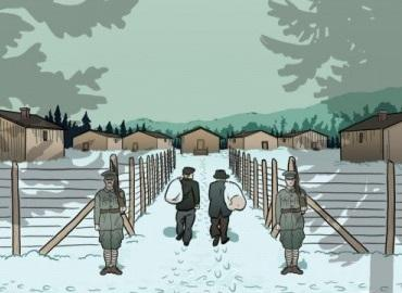 A portion of the book Enemy Alien showing two men walking toward an internment camp with two guards standing guard