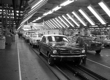 Ford Mustangs being built in a Ford plant