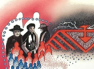 A painting depicting a group of Anishinaabe signatories of Treaty #3 next to a red thunderbird against a background of red and grey. Below the signatories are outlines of smaller people in red and blue.