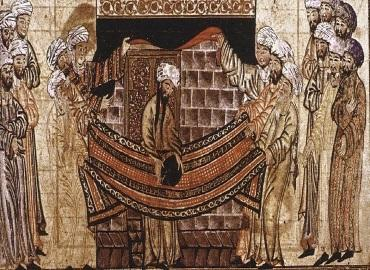 1315 illustration from the Jami al-Tawarikh, inspried by the Sirah Rasul Allah story of Muhammad and the Meccan clan elders lifting the Black Stone into place