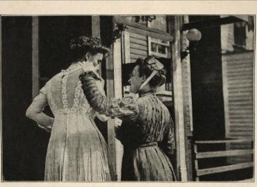 """Sex worker in altercation with moral reformer,"" ca. 1909"